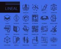 Linje vektorsymboler i en modern stil Royaltyfria Bilder