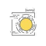 linje vektorsymboler med symbolväder Arkivfoto