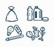 Linje vektorsymbolsuppsättning för avskrädeavfallsavfall av giftet, elektronisk plast- och matåtervinningavskräde royaltyfri illustrationer