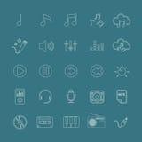 Linje version, vektor eps10 för musiksymbolsuppsättning Royaltyfria Bilder