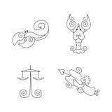 Linje zodiaksymboluppsättning - Våg, Skorpion, cancer för vektor en royaltyfri illustrationer