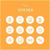 Linjen colorfuulsymboler ställde in samlingen av kök- och matlagningFoods Royaltyfri Fotografi