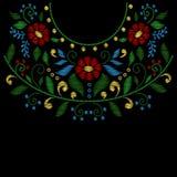Linjen för blommahalsbroderi planlägger vektorn royaltyfria bilder