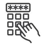Linjen för koden för stiftet för handfingret låser upp den skrivande in symbol, Royaltyfri Bild