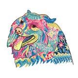 Linjen konst och färgläggning av gulligt spritz hunden på vit vektor illustrationer