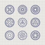 Linjen kugghjulsymbolsuppsättning skissar royaltyfri illustrationer