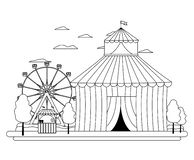 Linjen rolig cirkus med karneval shoppar och lekar stock illustrationer