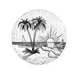 Linjen strandlandskap med gömma i handflatan och solnedgången Rund emblem-, kort-, tatuering- eller designbeståndsdel vektor illustrationer