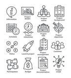 Linjen symboler för affärsledning packar 44 royaltyfri illustrationer