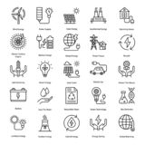 Linjen symboler för ren energi packar vektor illustrationer