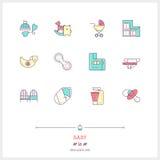 Linjen symbolsuppsättning av behandla som ett barn shoppar objekt och bearbetar beståndsdelar Behandla som ett barn leken Arkivbilder