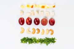 Linjer av olik mat Fotografering för Bildbyråer