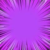 Linjer bakgrund för purpurfärgad explosion för Manga humorbokexponering radiella Arkivbilder