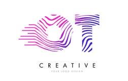 Linjer bokstav Logo Design för sebra för OT-nolla T med magentafärgade färger Royaltyfria Foton