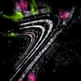 linjer Färgrika fluid mörka linjer för silvergrå färger, bubblor, skämtsam bakgrund Royaltyfri Bild