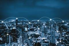 Linjer för anslutning för Digitalt nätverk av Sathorn, Bangkok centrum, Thailand Finansiell områdes- och affärsmitt i smart stads arkivfoton