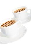 linjer för chokladkaffekoppar Arkivfoto