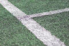 Linjer på sportfält för grönt gräs Royaltyfria Bilder