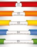Linjer papper för Infographic exempel färgade musikbandpilar Arkivbild