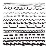 Linjer räcker den utdragna illustrationen för uppsättningen för prydnadramvektorn Royaltyfri Bild