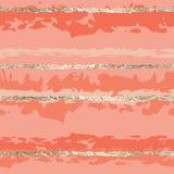 Linjer rosa kvinnor för guld- folie för sömlös vektormodell stock illustrationer