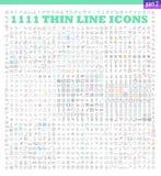 Linjär symbolsuppsättning för vektor av UI-/UIhjälpmedel Royaltyfri Bild