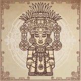 Linjär teckning: dekorativ bild av en forntida indisk gud Magisk cirkel En bakgrund - efterföljd av gammalt papper Royaltyfri Bild
