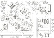 Linjärt arkitektoniskt skissar allmänt plan av byn Royaltyfria Bilder