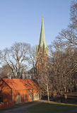 The Linköping Cathedral. The Linköping Cathedral in Linkoping Sweden as the sun sets Stock Photo