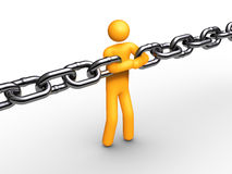 Link. 3D rendered stick figure holding chain Stock Photos