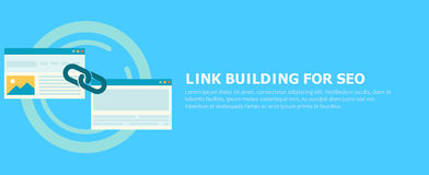 Link building for seo banner. Two pages are connected by a chain. Flat illustration Royalty Free Stock Photos
