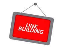 Link building sign. A sign with the text link building hanging from a screw royalty free illustration