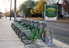 Link Dayton Bike Share by UD in Morning Light Royalty Free Stock Photo