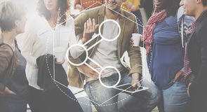 Link, der Informationstechnologie-Grafik-Konzept teilt stockfotografie