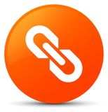 Link icon orange round button. Link icon isolated on orange round button abstract illustration Royalty Free Stock Photos