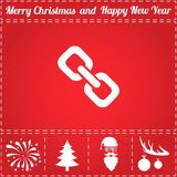 Link Icon Vector. And bonus symbol for New Year - Santa Claus, Christmas Tree, Firework, Balls on deer antlers Stock Image