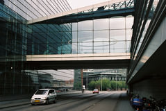 The link from outside. Copenhague, The Royal Library, so called Black Diamond - outside view of the link. Architect's terms of use - firm name Architects royalty free stock image