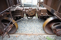 Link between railroad cars Stock Images