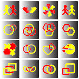 Link and relationship icons on button Stock Photos