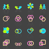 Link and relationship icons with reflect Stock Photography