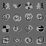 Link and relationship icons with shadow Royalty Free Stock Images