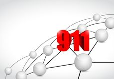 911 link sphere network connection concept. Illustration design graphic background Royalty Free Stock Photos
