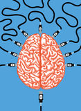 Link to brain vector illustration Royalty Free Stock Photos