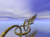 Link to the future. A chain of golden links rises from the water and stretches to the sky Royalty Free Stock Photography