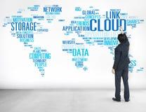 Link-Wolken-Komputertechnologie-Daten-Informations-Konzept lizenzfreies stockbild