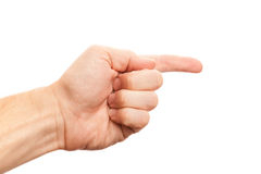 Linke männliche Hand mit dem Zeigefinger lokalisiert auf Weiß Lizenzfreie Stockfotos