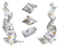 Linke und rechte Eckzargen von $100 Rechnungen, 3 lokalisiert Lizenzfreie Stockfotografie