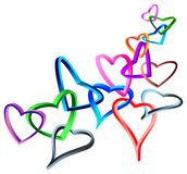 Linked 3 d hearts Stock Photos