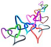 Linked 3 d hearts Stock Photos