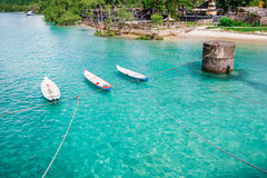 Linked Boats and blue ocean. Indonesia royalty free stock photography